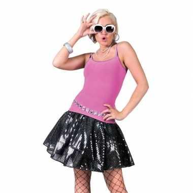 Vintage zwarte disco seventies verkleed rok voor dames