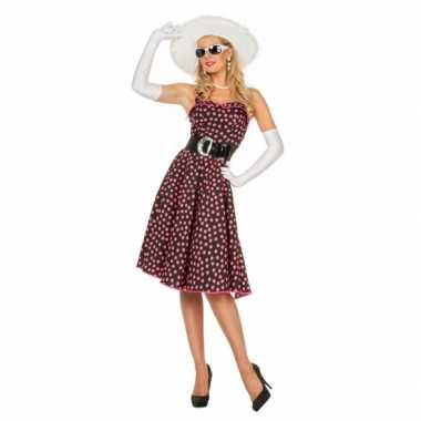 Vintage zwarte fifties jurk met roze stippen voor dames