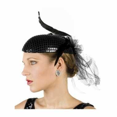 Vintage zwarte jaren twintig hoed met pailletten