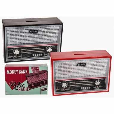 Vintage zwarte radio spaarpot 18 cm