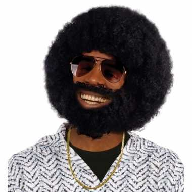Vintage zwarte ronde afro pruik met baard