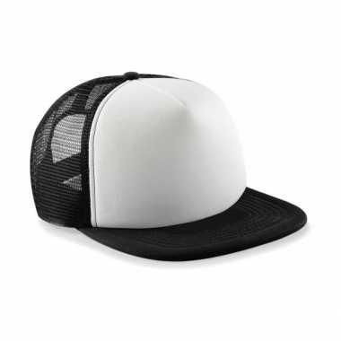 Zwart met witte vintage kinder baseball cap