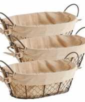 3x vintage brood serveer mandjes metaaldraad 30 x 21 cm