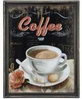 Houten vintage schilderij koffie