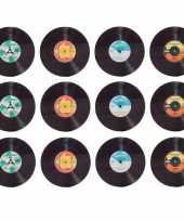 Vintage 12x retro elpee lp vinyl onderzetters glas 10 cm