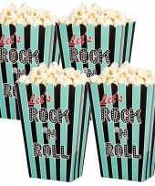 Vintage 12x rock n roll popcornbakjes snoepbakjes 13 cm