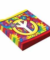 Vintage 16x hippie sixties themafeest servetten 33 cm