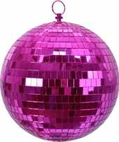 Vintage 2x roze disco kerstballen discoballen discobollen foam 20 cm