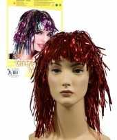 Vintage 2x stuks lurex folie dames verkleed pruik rood