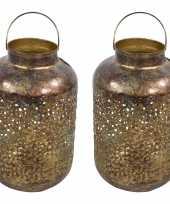 Vintage 2x stuks metalen lantaarns windlichten goud grof 20 x 32 cm