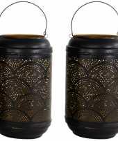 Vintage 2x stuks metalen lantaarns windlichten zwart goud cirkels 16 x 26 cm