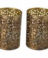Vintage 2x stuks metalen waxinelichthouders theelichthouders goud grof motief 12 x 17 cm