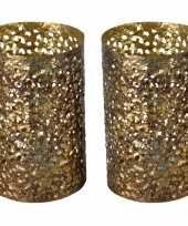 Vintage 2x stuks metalen waxinelichthouders theelichthouders goud grof motief 14 x 21 cm