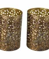 Vintage 3x stuks metalen waxinelichthouders theelichthouders goud grof motief 12 x 17 cm
