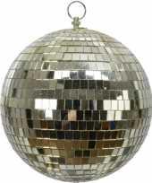 Vintage 4x stuks grote gouden disco kerstballen discoballen discobollen foam 20 cm