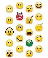 Vintage 60x smiley emoticons stickers met 3d effect met zacht kunststof