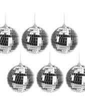 Vintage 6x kerstboom decoratie discoballen zilver 10 cm