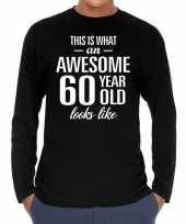 Vintage awesome 60 year 60 jaar cadeaushirt long sleeves zwart heren