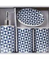 Vintage blauw witte retro badkamer set 4 delig