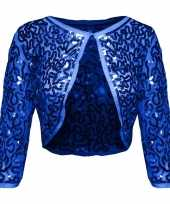 Vintage blauwe glitter pailletten disco bolero jasje dames