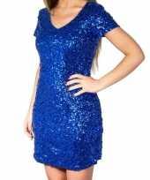 Vintage blauwe glitter pailletten disco jurkje dames