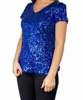 Vintage blauwe glitter pailletten disco shirt dames