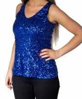 Vintage blauwe glitter pailletten disco topje mouwloos shirt dames