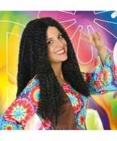 Vintage bruine hippie flower power verkleed pruik voor dames