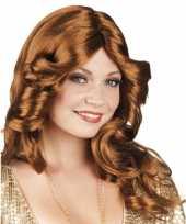 Vintage disco pruik bruin haar
