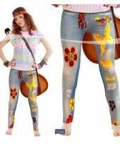 Vintage flower power legging voor dames