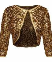 Vintage gouden glitter pailletten disco bolero jasje dames