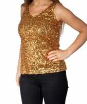Vintage gouden glitter pailletten disco topje mouwloos shirt dames