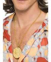 Vintage gouden indianen hippie medallion aan ketting