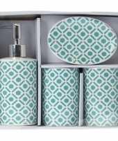 Vintage groen witte retro badkamer set 4 delig