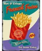 Vintage grote muurplaat french fries 30x40cm
