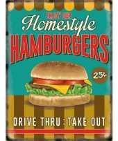 Vintage grote muurplaat hamburgers 30x40cm