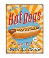 Vintage grote muurplaat hot dogs 30x40cm