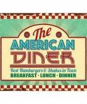 Vintage grote muurplaat the american diner 30x40cm