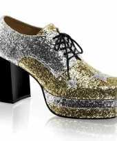 Vintage heren glitter rockschoenen zilver met goud