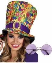 Vintage hippie accessoires verkleedset hoed met bril
