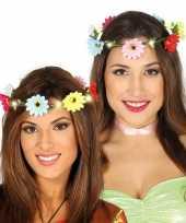 Vintage hippie flower power verkleed bloemen hoofd krans voor dames