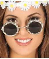 Vintage hippie flower power verkleed zonnebril met ronde glazen