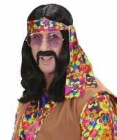 Vintage hippie pruik met lang zwart haar