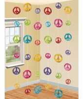 Vintage hippie thema peace hangdecoratie 6 stuks