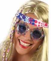 Vintage hippie verkleed bril met blauwe glazen voor volwassenen