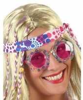 Vintage hippie verkleed bril met roze glazen voor volwassenen