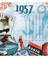 Vintage historische verjaardag cd kaart 1957