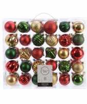 Vintage kerstversiering kerstballen set dennen groen goud rood 60 delig