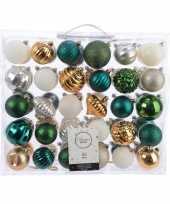 Vintage kerstversiering kerstballen set groen goud zilver wit 60 delig