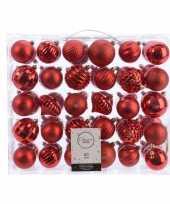 Vintage kerstversiering kerstballen set rood 60 delig kunststof